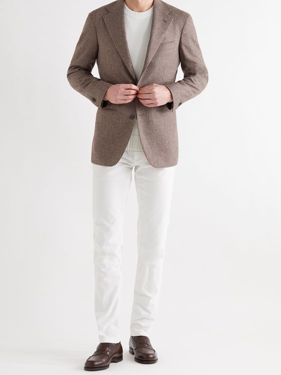 Saman Amel Slim-Fit Herringbone Wool Blazer
