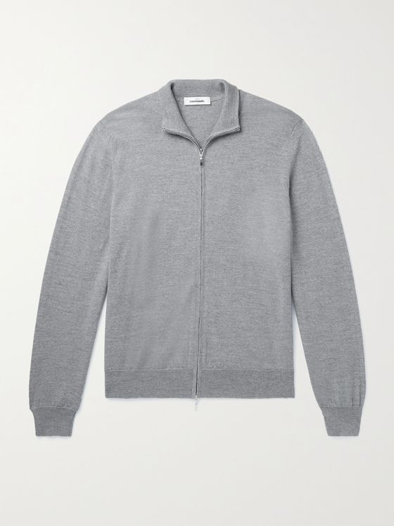 SAMAN AMEL Mélange Merino Wool Zip-Up Cardigan
