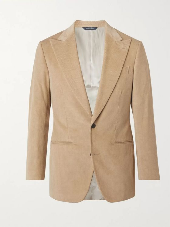 SAMAN AMEL Slim-Fit Cotton-Corduroy Suit Jacket