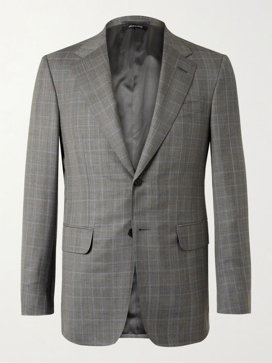 DUNHILL Kensington Slim-Fit Unstructured Prince of Wales Checked Wool and Silk-Blend Suit Jacket