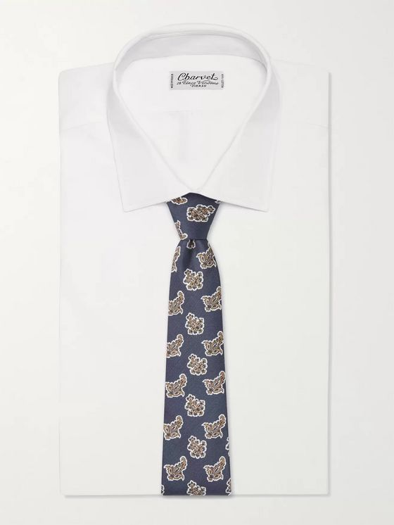 TURNBULL & ASSER 7.5cm Paisley-Print Cotton and Silk-Blend Piqué Tie