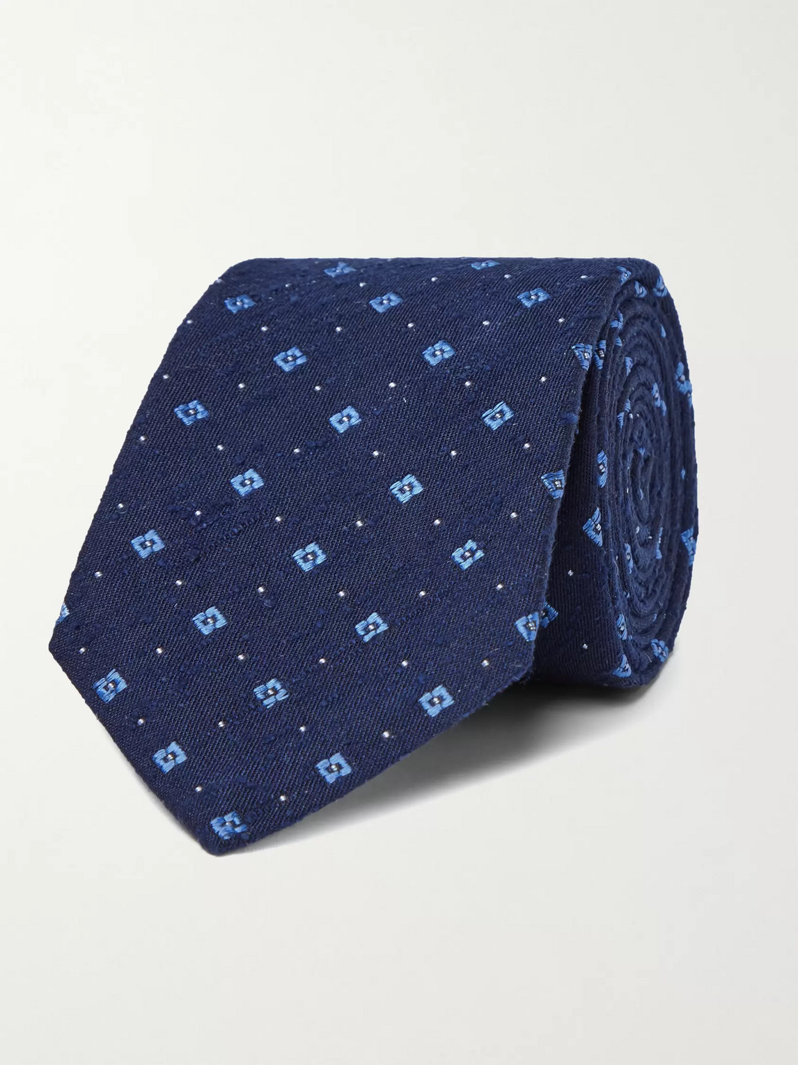 Turnbull & Asser 8cm Slub Silk-jacquard Tie In Blue
