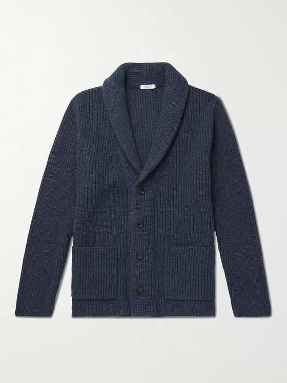 BOGLIOLI Shawl-Collar Ribbed Virgin Wool and Cashmere-Blend Cardigan