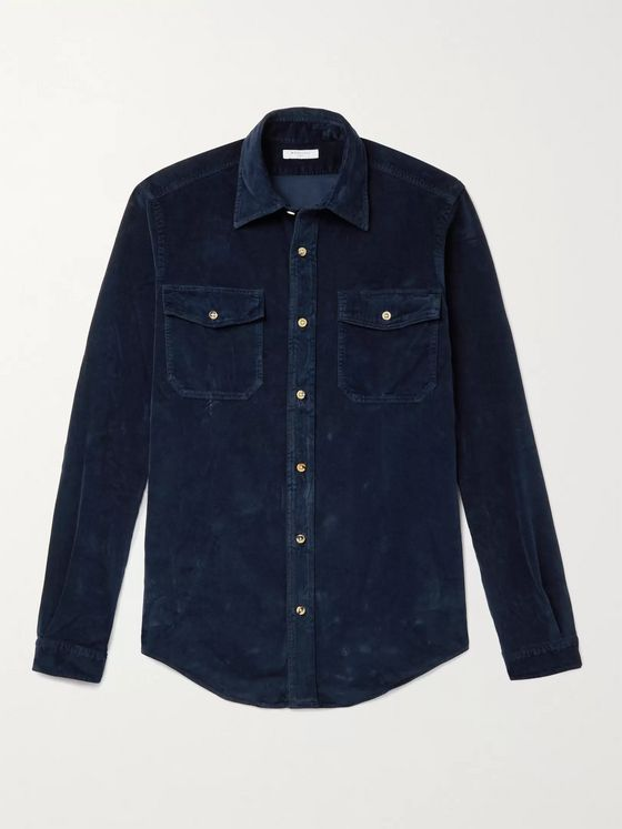 BOGLIOLI Garment-Dyed Cotton-Velvet Western Shirt