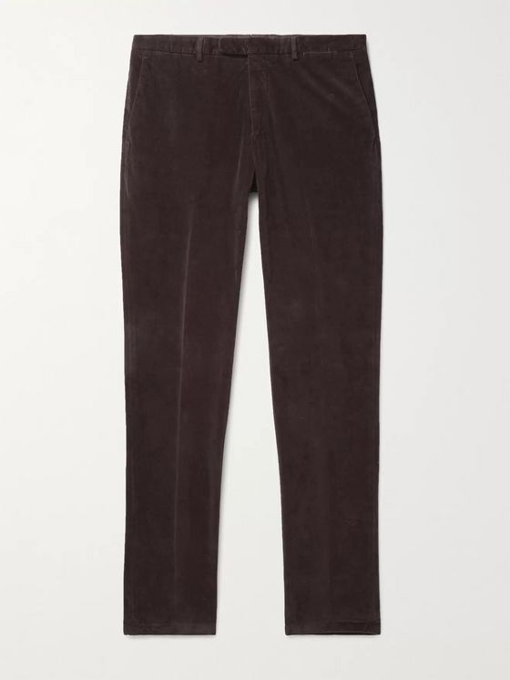 BOGLIOLI Kei Tapered Garment-Dyed Cotton-Velvet Suit Trousers