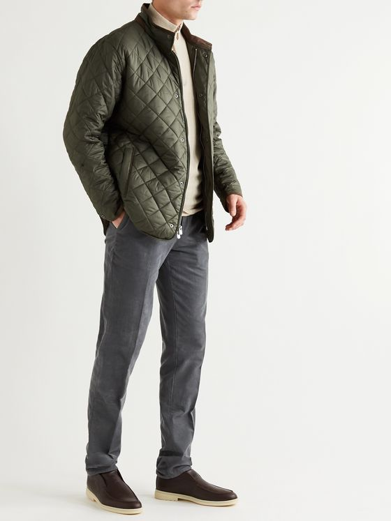 PETER MILLAR Suffolk Microfibre-Trimmed Quilted Shell Jacket