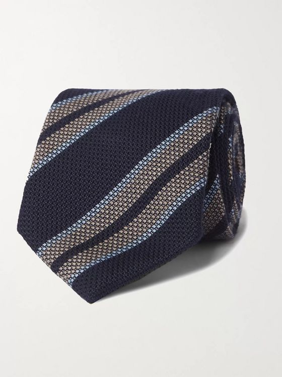 Bigi 9cm Striped Silk and Cashmere-Blend Tie