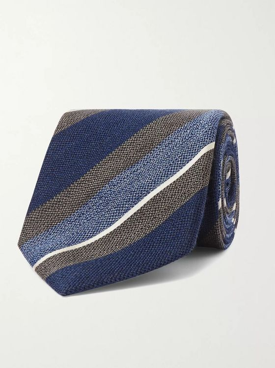 Bigi 8cm Striped Silk and Wool-Blend Tie