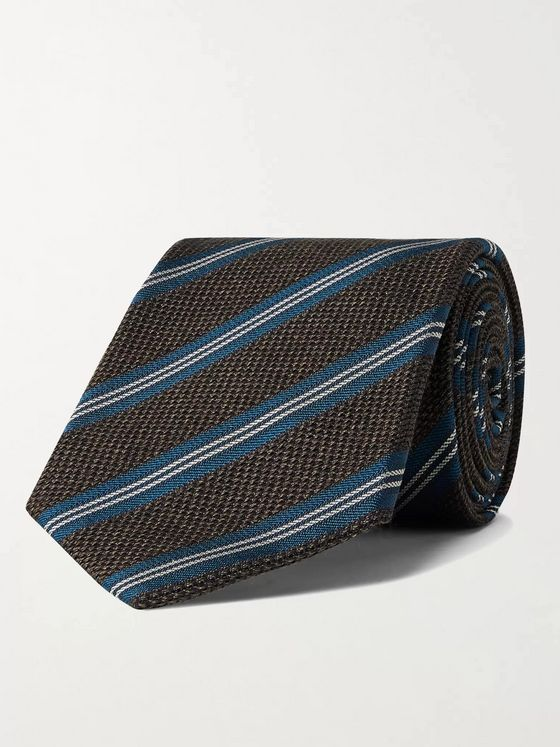 Bigi 8cm Striped Silk and Wool-Blend Jacquard Tie