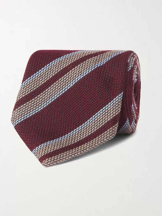 Bigi 8.5cm Striped Silk and Cashmere-Blend Tie