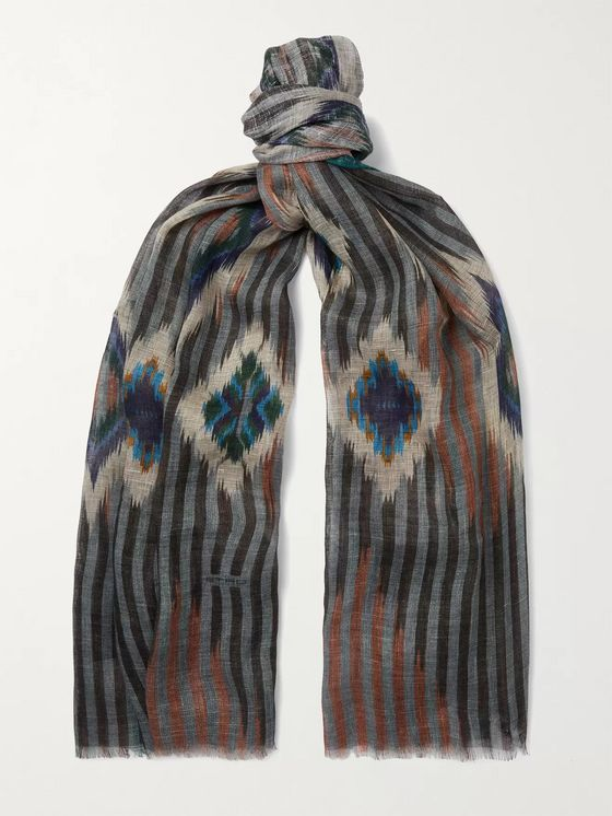 ETRO Fringed Printed Linen, Cashmere and Silk-Blend Scarf