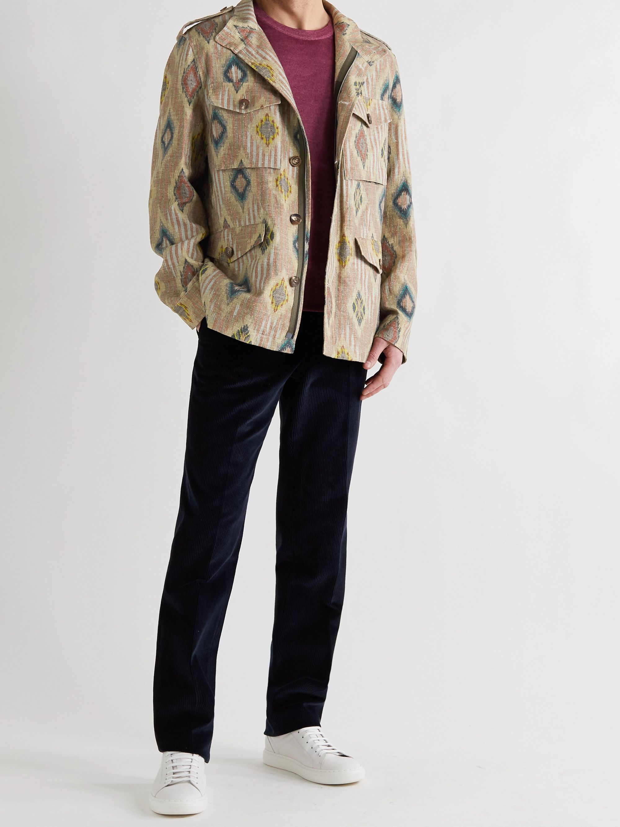 ETRO Printed Linen, Silk and Cotton-Blend Shirt Jacket