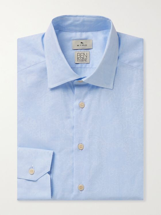 ETRO Slim-Fit Cutaway-Collar Cotton-Jacquard Shirt