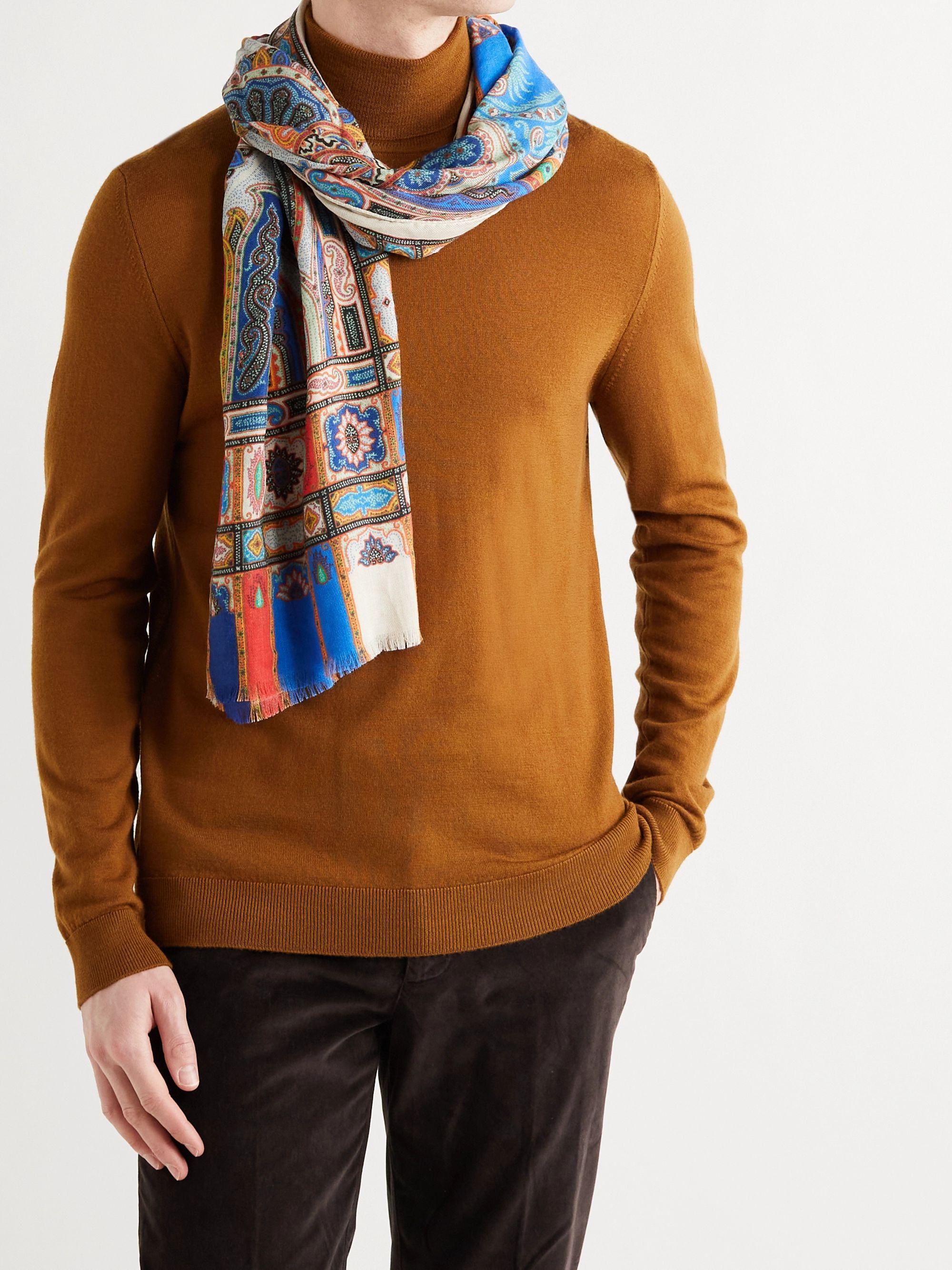 ETRO Fringed Printed Linen and Silk-Blend Scarf