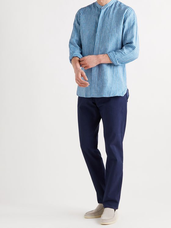 ETRO Grandad-Collar Striped Linen Shirt