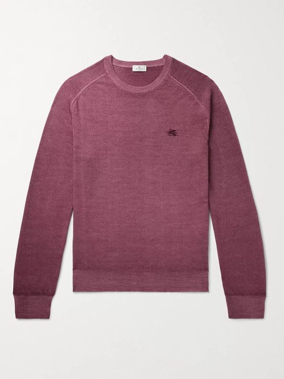ETRO Slim-Fit Logo-Embroidered Mélange Wool Sweater