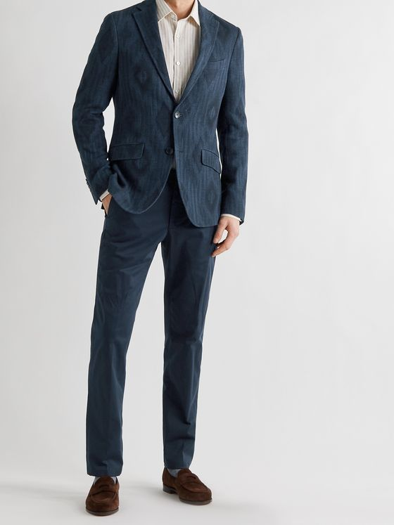 ETRO Slim-Fit Herringbone Cotton-Blend Jacquard Blazer
