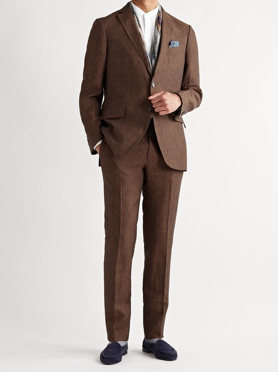 ETRO Slub Linen Suit Trousers
