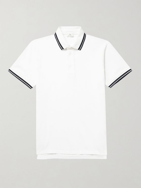 ETRO Contrast-Tipped Cotton-Piqué Polo Shirt