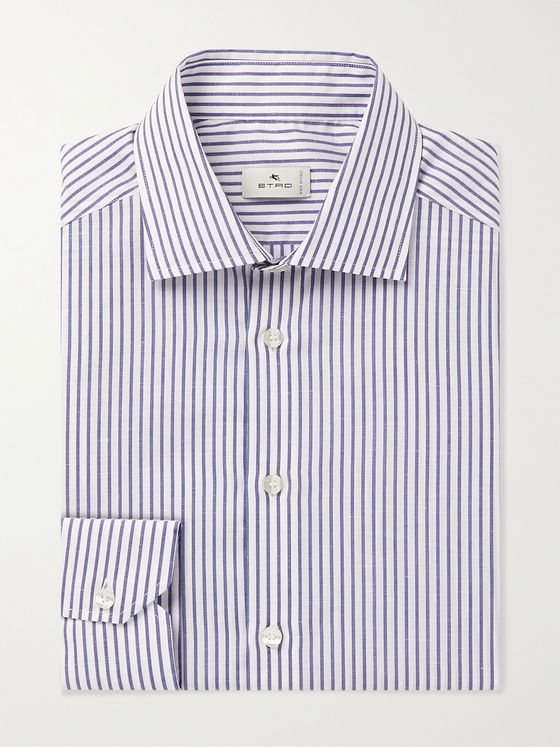 ETRO Slim-Fit Striped Cotton and Linen-Blend Poplin Shirt