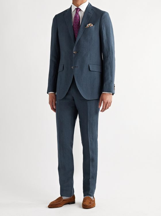 ETRO Slim-Fit Slub Linen Suit Trousers