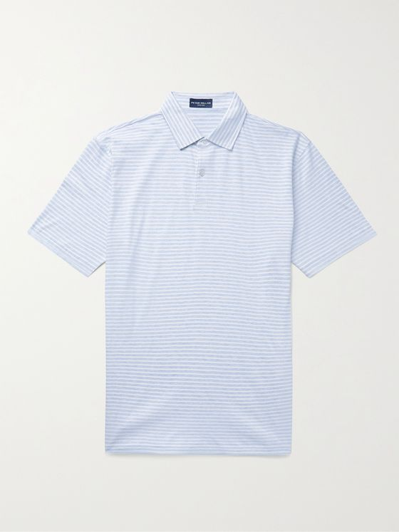 PETER MILLAR Marseille Striped Cotton and Linen-Blend Polo Shirt