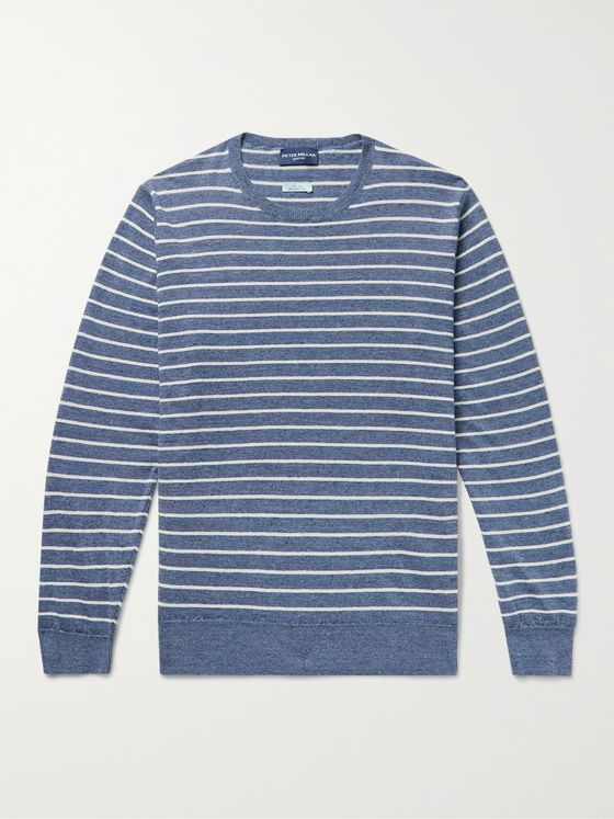 PETER MILLAR Slim-Fit Striped Mélange Linen and Merino Wool-Blend Sweater