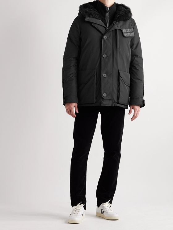 Yves Salomon Army Shearling-Trimmed Shell Hooded Down Parka