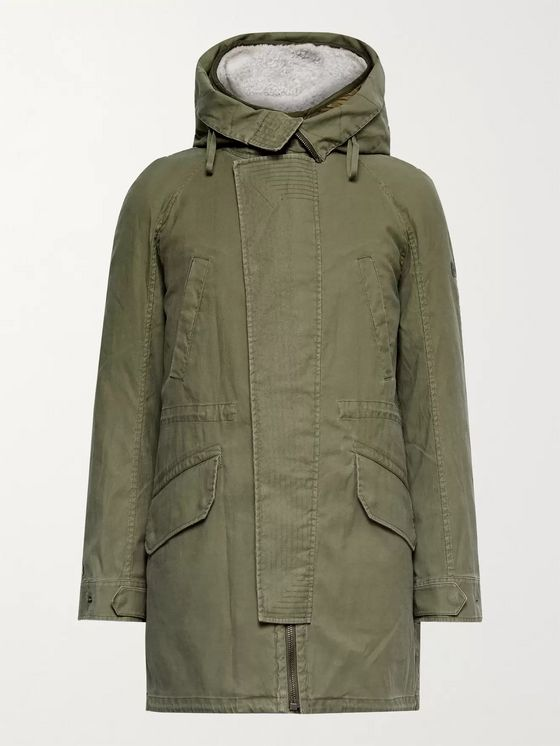 Yves Salomon Cotton-Twill Parka with Detachable Ripstop and Shearling Liner