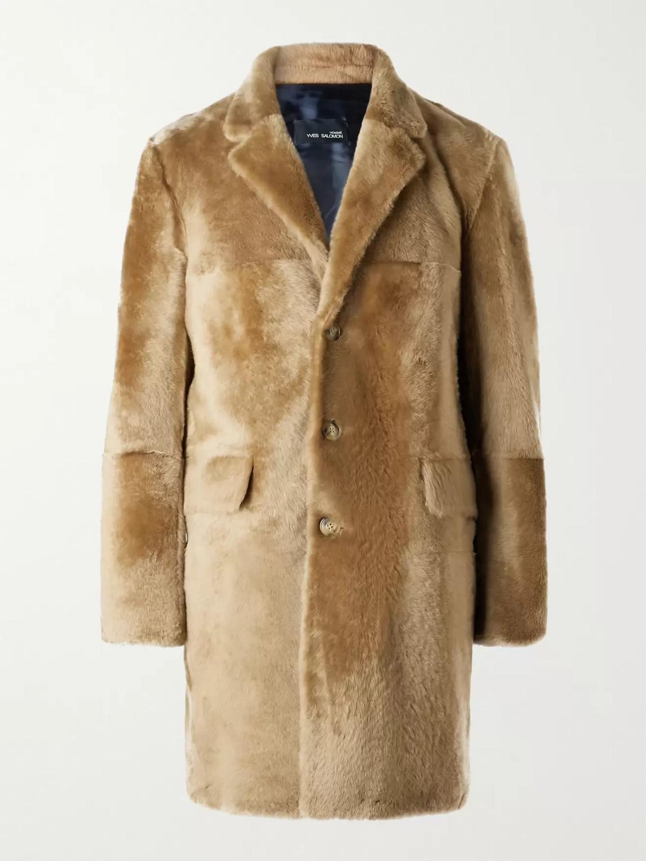 Yves Salomon Shearling Coat In Brown