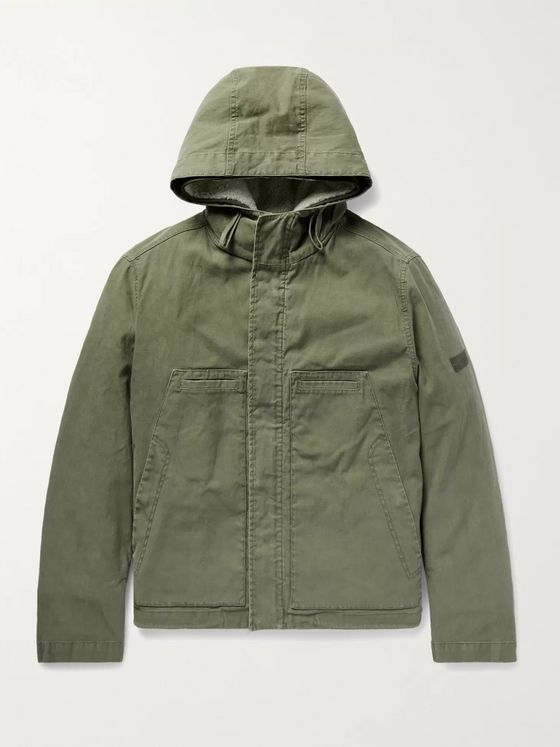 Yves Salomon Cotton-Twill Jacket with Detachable Ripstop and Shearling Liner