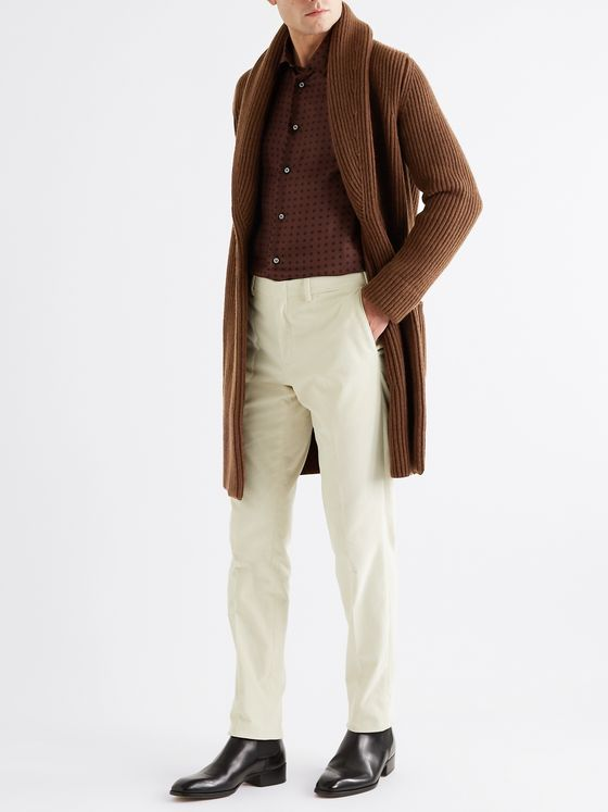 BRIONI Shawl-Collar Belted Ribbed Wool and Cashmere-Blend Cardigan
