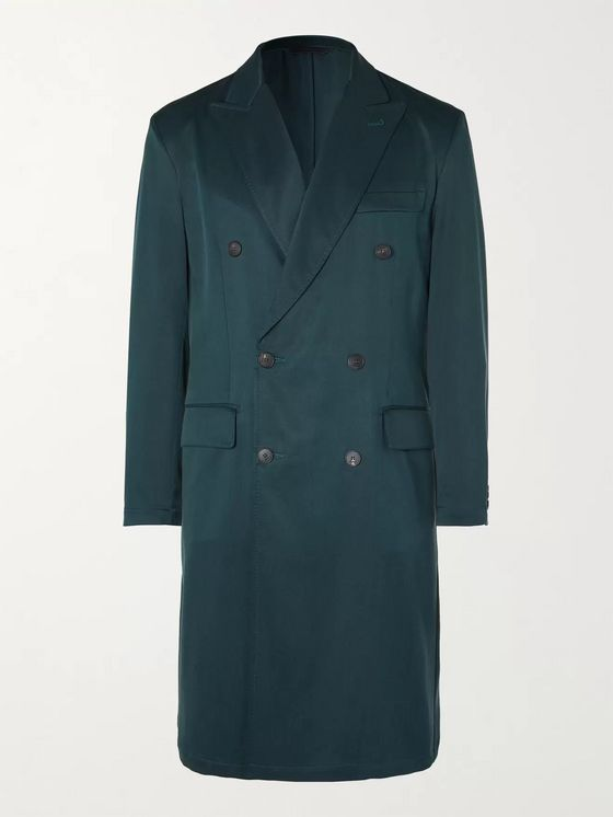 BRIONI Double-Breasted Silk-Twill Overcoat