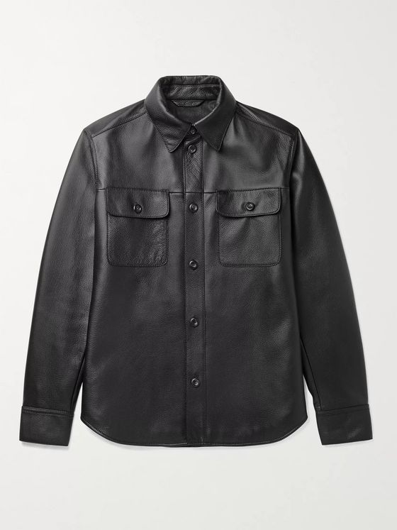 BRIONI Full-Grain Leather Overshirt