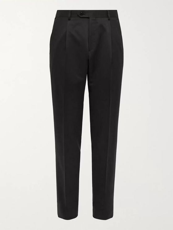 BRIONI Slim-Fit Tapered Pleated Silk-Twill Trousers