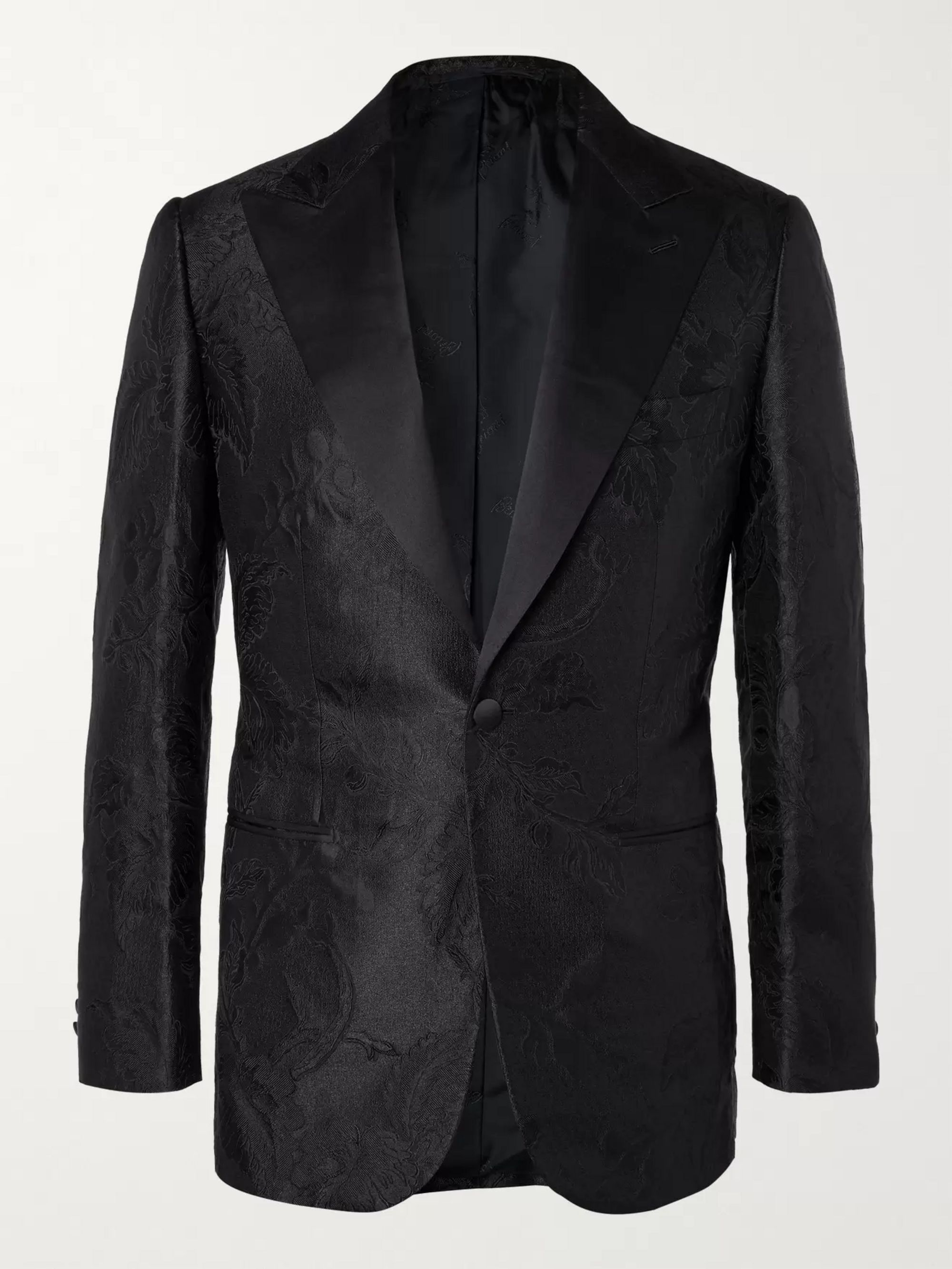 BRIONI Virgilio Slim-Fit Satin-Trimmed Silk-Blend Jacquard Tuxedo Jacket