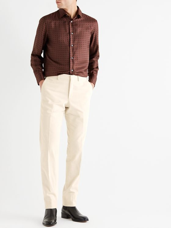 BRIONI Slim-Fit Cotton-Blend Corduroy Trousers