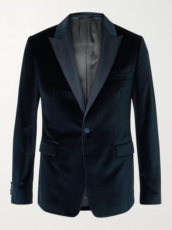 PAUL SMITH Slim-Fit Satin-Trimmed Cotton-Velvet Tuxedo Jacket