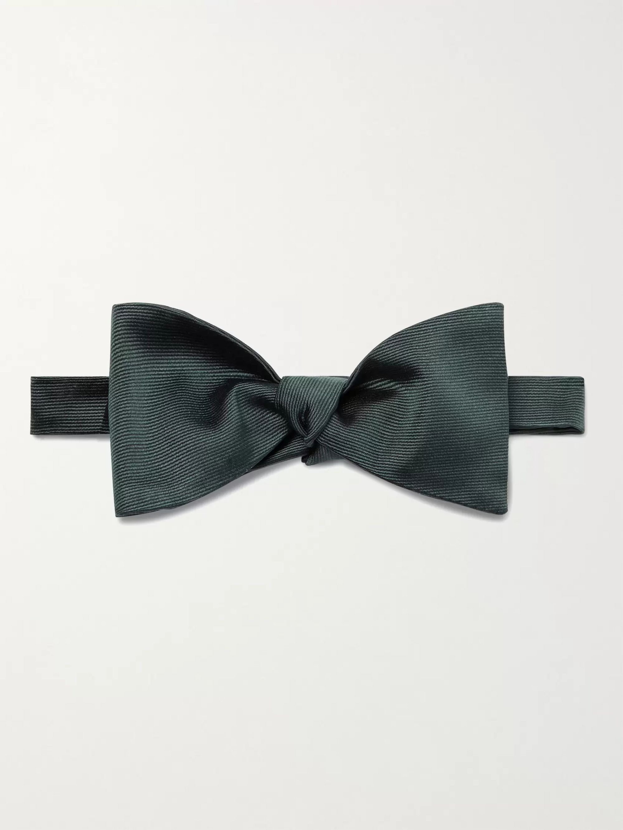 폴 스미스 Paul Smith Self-Tie Silk-Grosgrain Bow Tie,Dark green