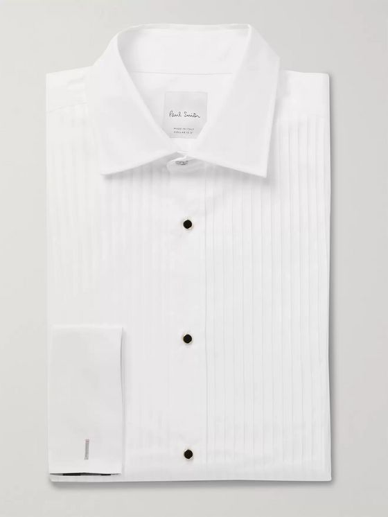 PAUL SMITH Slim-Fit Bib-Front Double-Cuff Cotton-Poplin Tuxedo Shirt