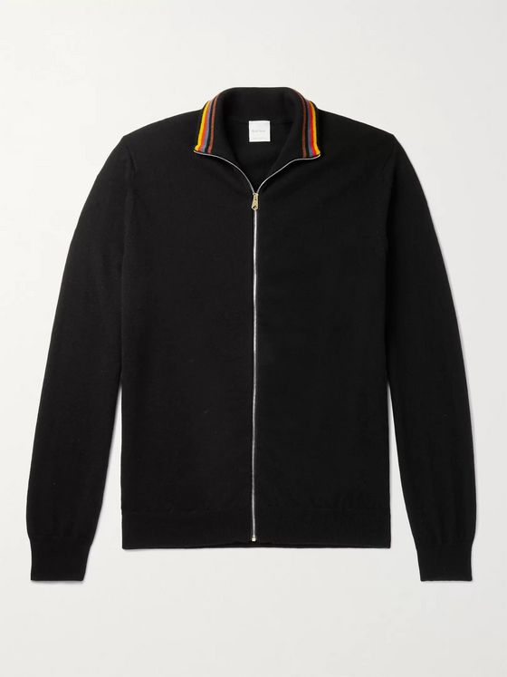 PAUL SMITH Stripe-Trimmed Cashmere Zip-Up Cardigan