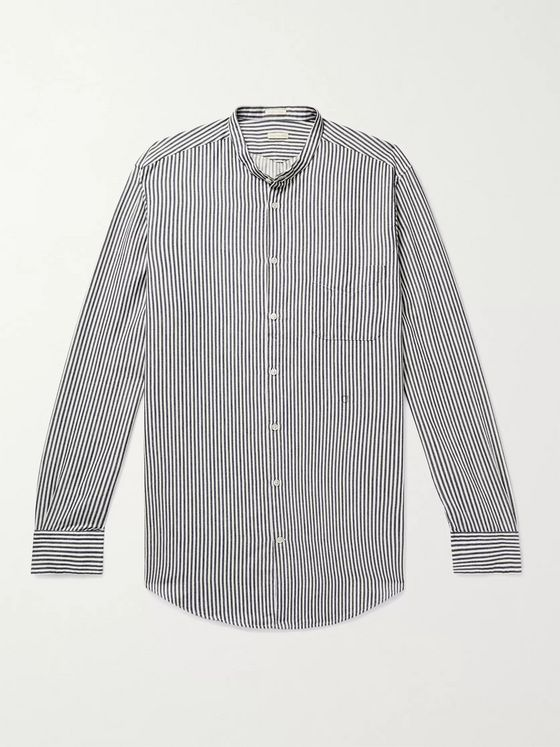 MASSIMO ALBA Grandad-Collar Striped Cotton Shirt