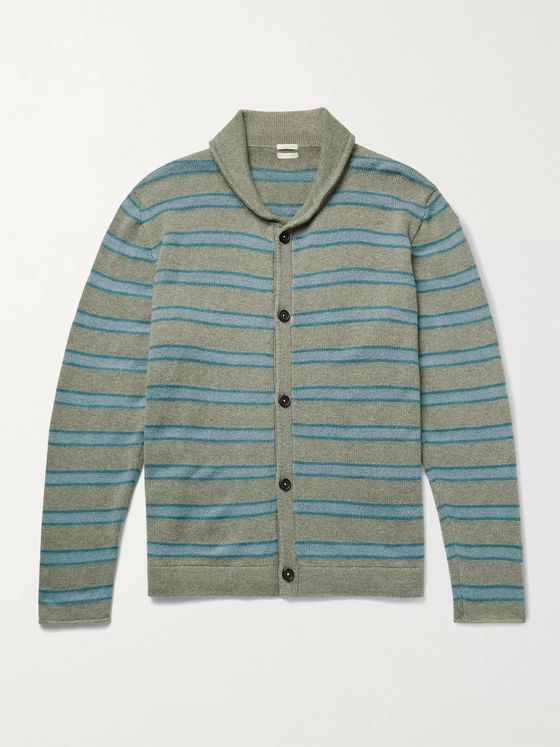 MASSIMO ALBA Shawl-Collar Striped Cashmere and Silk-Blend Cardigan