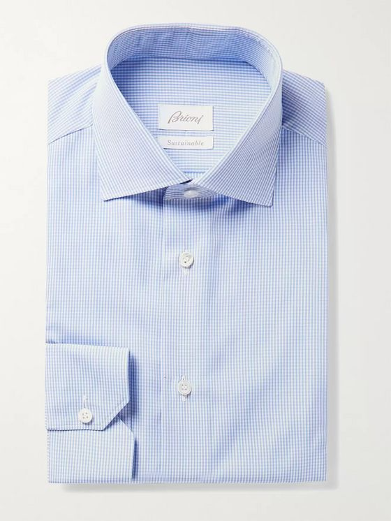 BRIONI Cutaway-Collar Micro-Checked Cotton-Poplin Shirt