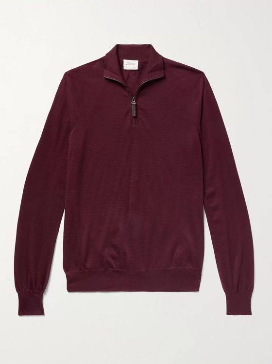 BRIONI Mélange Wool Half-Zip Sweater