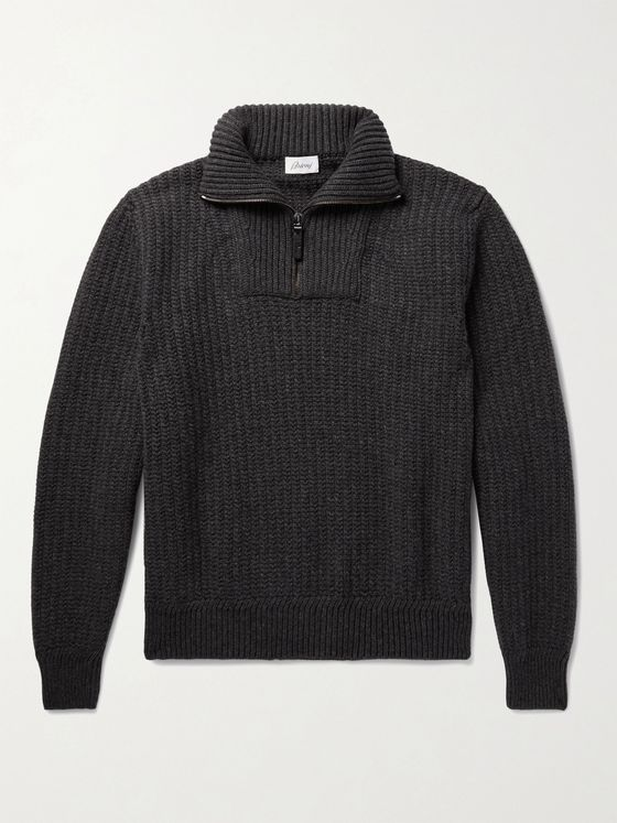 BRIONI Ribbed Wool and Cashmere-Blend Half-Zip Sweater