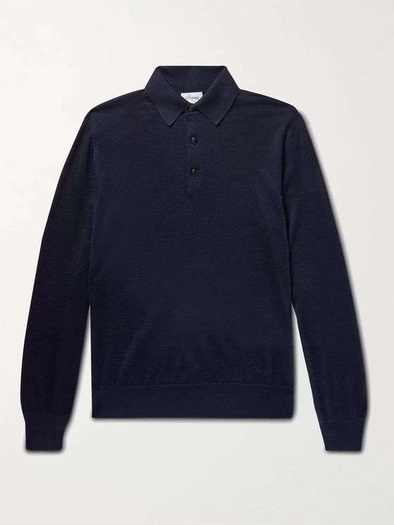 BRIONI Slim-Fit Cashmere and Silk-Blend Polo Shirt