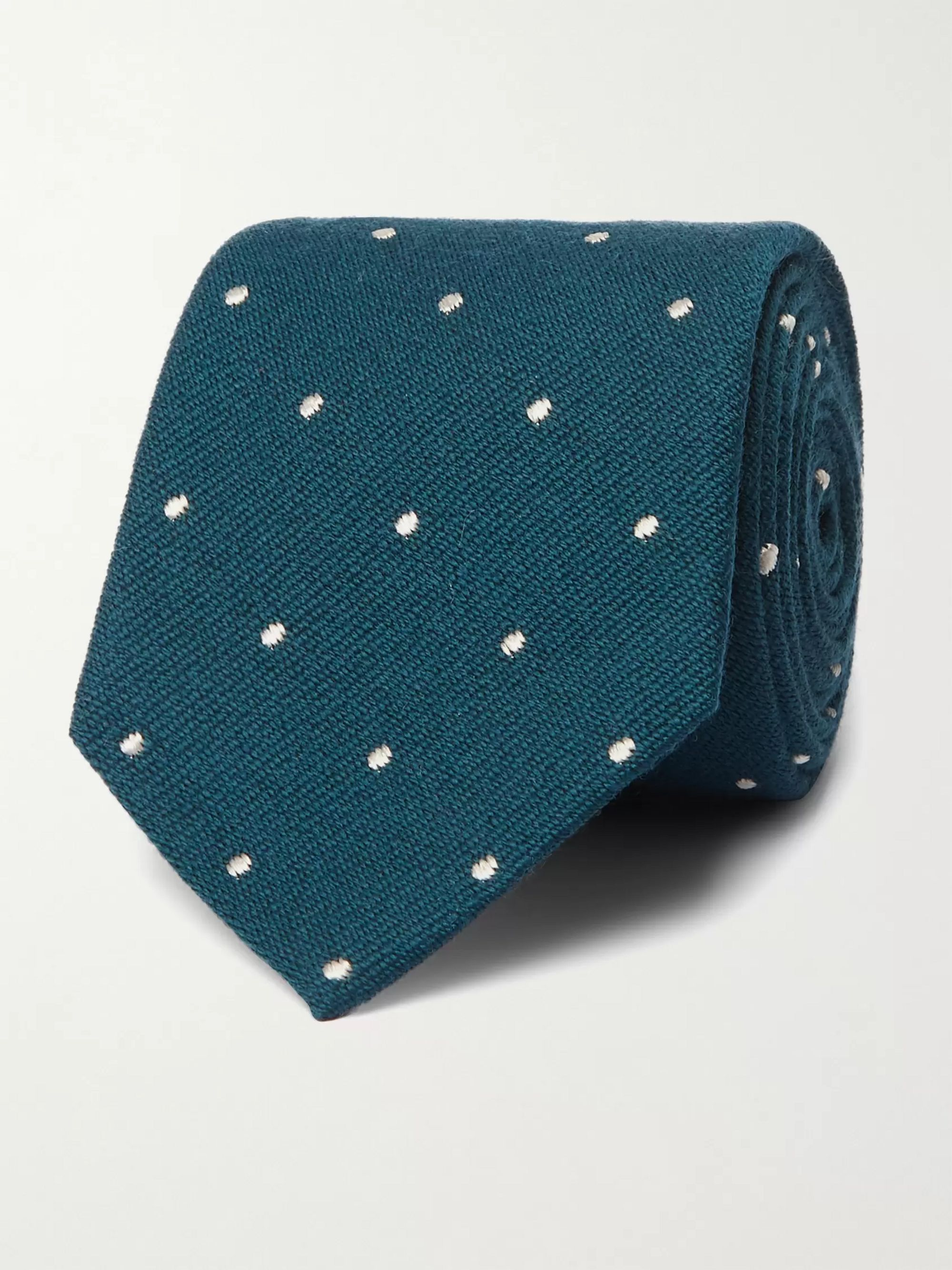 폴 스미스 Paul Smith 8cm Polka-Dot Wool and Silk-Blend Tie,Petrol