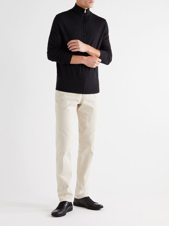 PAUL SMITH Stripe-Trimmed Merino Wool Half-Zip Sweater