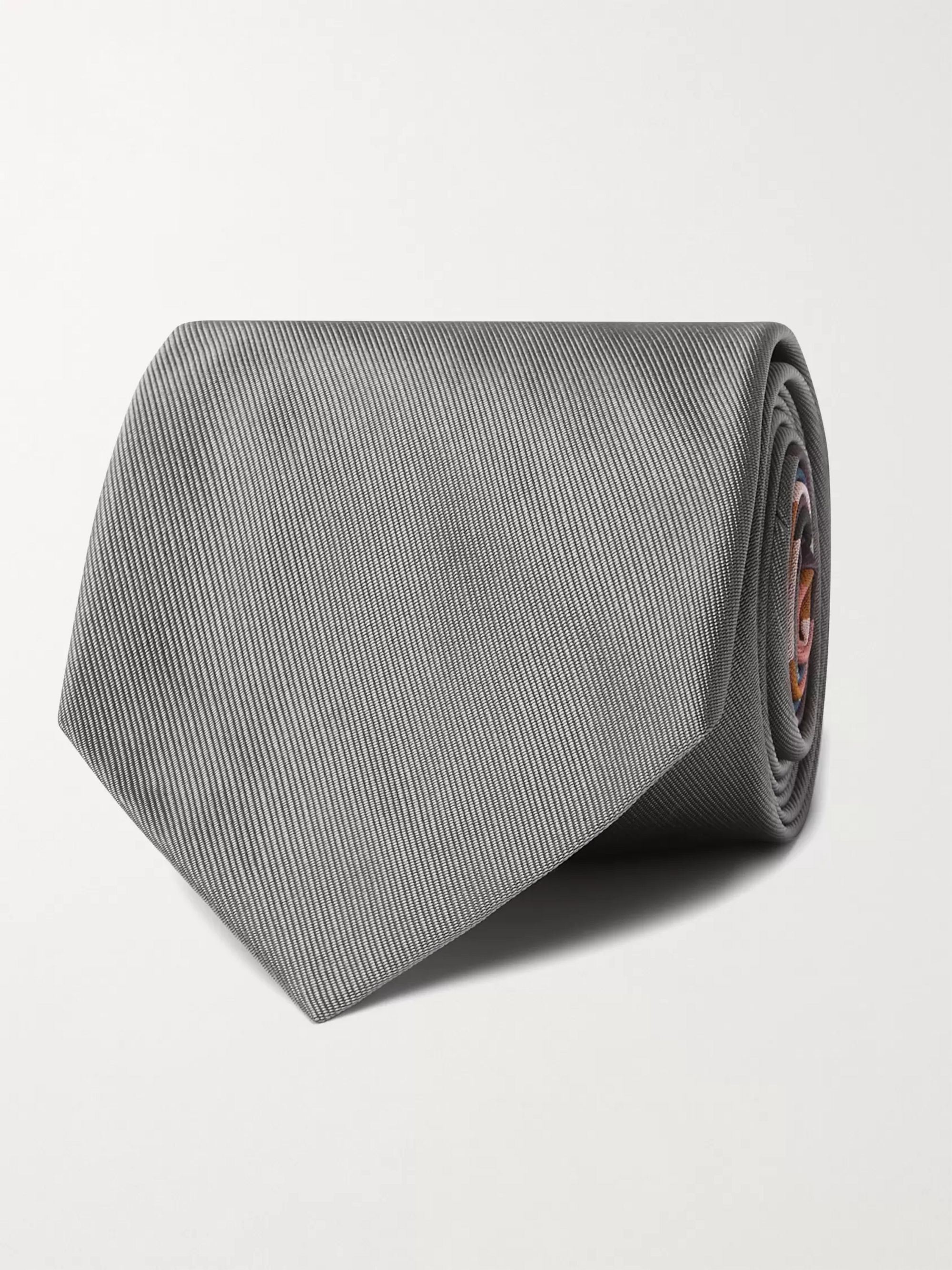 폴 스미스 Paul Smith 8cm Striped Silk Tie,Gray
